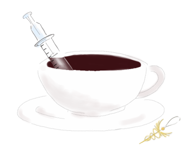 syringe and caffeine